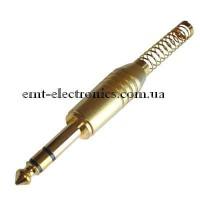 Штекер 6,3 стерео,  gold, с длинной пружиной
