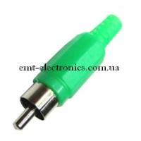 Штекер RCA под шнур, зелёный