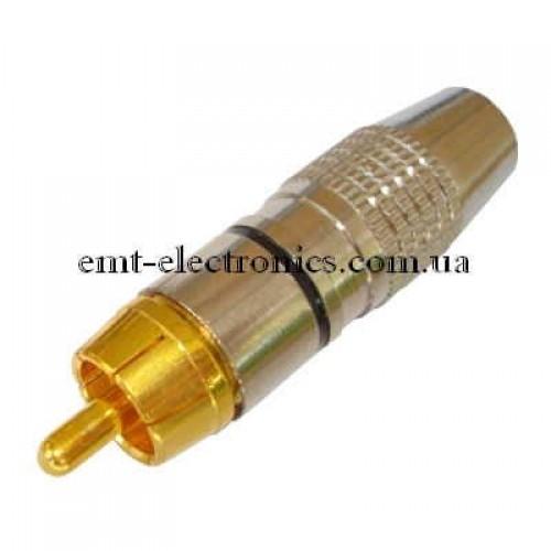 Штекер RCA, silver-gold, диам.- 6,5мм, c чёрной полосой