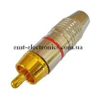 Штекер RCA, silver-gold, диам.- 6,5мм, c красной полосой