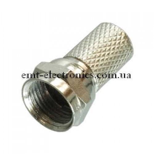 Штекер F, под кабель (RG-6), накрутка (18мм), цинк