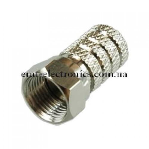 Штекер F  под кабель (RG-58), накрутка, диам- 5мм, медный