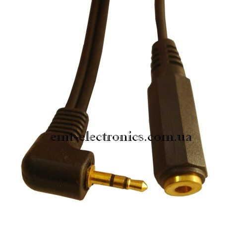Переходник (штекер 2,5 стерео - гнездо 3,5 стерео), с кабелем 0,2м
