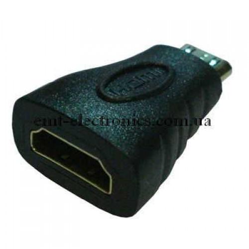 Переходник  гнездо HDMI - штекер mini HDMI gold