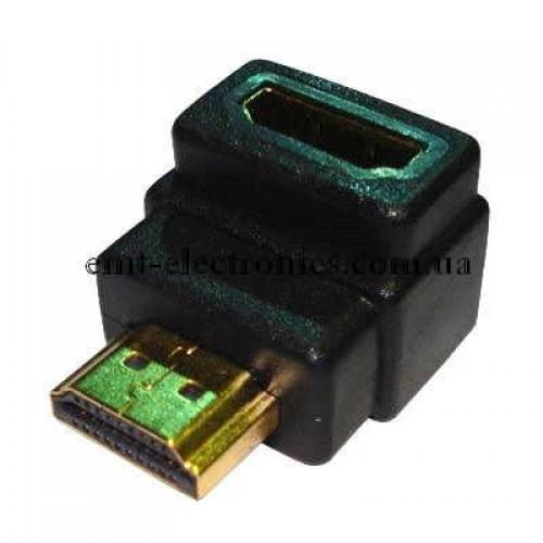 Переходник  штекер HDMI - гнездо HDMI угловой, gold