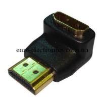 Переходник штекер HDMI - гнездо HDMI угловой с выступом, gold