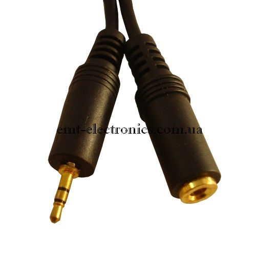 Переходник (штекер 2,5 стерео - гнездо 3,5 стерео), gold, с кабелем 0,3м