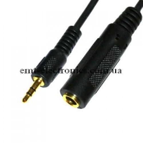 Переходник (шт.3,5 стерео - гн. 2,5 стерео, gold, с кабелем)