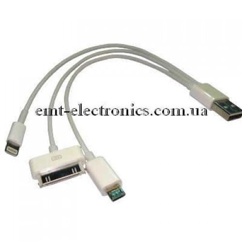 Переходник (штекер USB A - штекер micro USB,  iPhone/iPod/iPad)