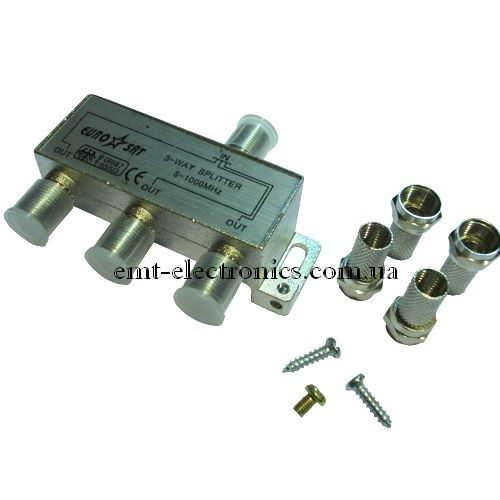 Разветвитель антенный на 3 выхода + 4шт F (полиэтилен)