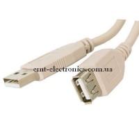 Шнур USB (шт. A - гн. А), V2.0, диам.-3,5мм, серый, 1,8м.