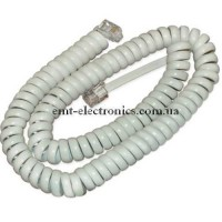 Шнур телефонный витой 7,5м. (4p4c), белый