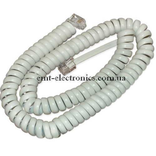 Шнур телефонный витой, 15м. (4p4c), белый