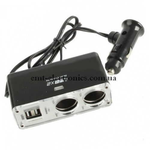 Разветвитель автомобильный 1х2 + 2 USB