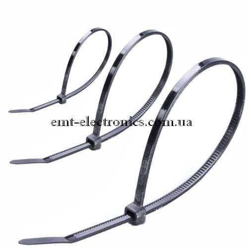 Стяжки (хомуты) кабельные PROFIX, 380х4,8мм, чёрные (100шт.)