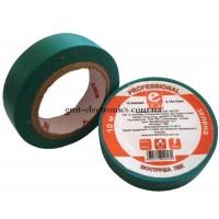 Изолента негорючая, ПВХ, 0,18*15мм, зелёная, 10м