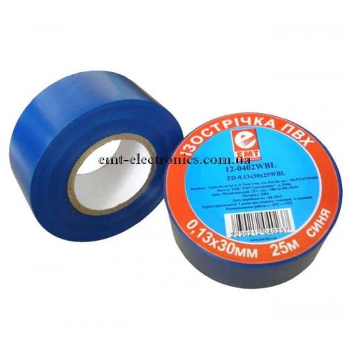 Изолента ПВХ, 0,13*30мм, синяя, 25м