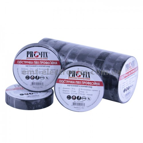 Изолента ПВХ PROFIX, 0,13*15мм, чёрная, 20м