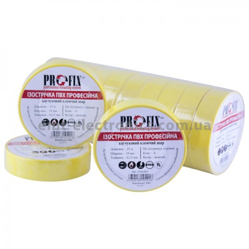 Изолента ПВХ PROFIX, 0,13*19мм, жёлтая, 25м