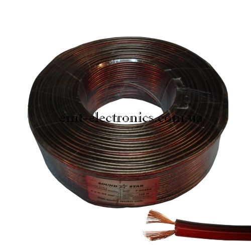 Кабель акустический (биметалл) 2x0,34кв.мм., красно-чёрный, 100м