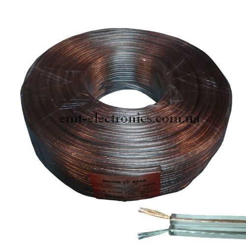Кабель акустический (биметалл) 2x0,35кв.мм, прозрачный, 100м