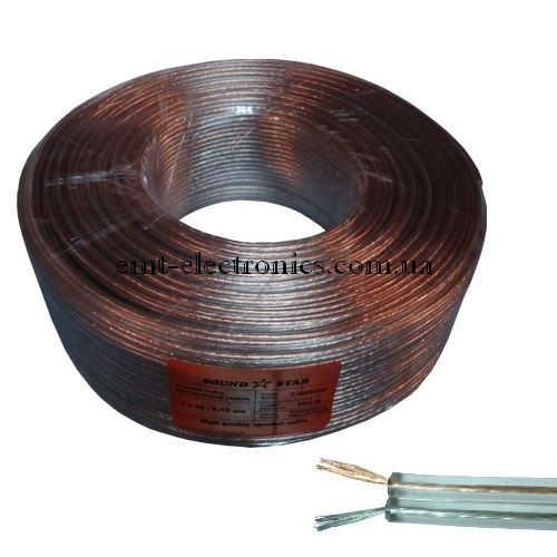 Кабель акустический (биметалл) 2x0,5кв.мм,  прозрачный, 100м