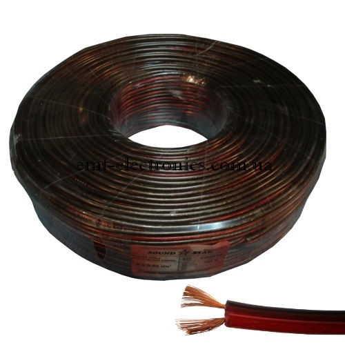 Кабель акустический (биметалл) 2x0,9кв.мм., красно-чёрный, 100м