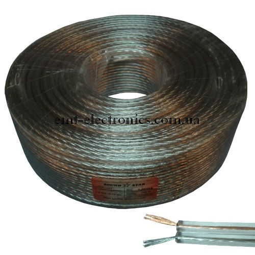 Кабель акустический (биметалл) 2x1,2кв.мм, прозрачный, 100м