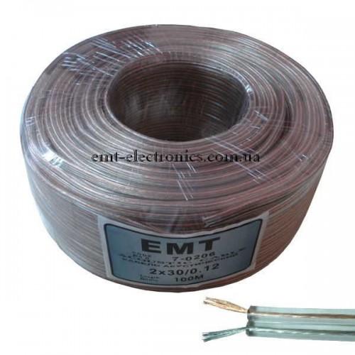 Кабель акустический (медный) 2x0,35кв.мм, прозрачный, 100м