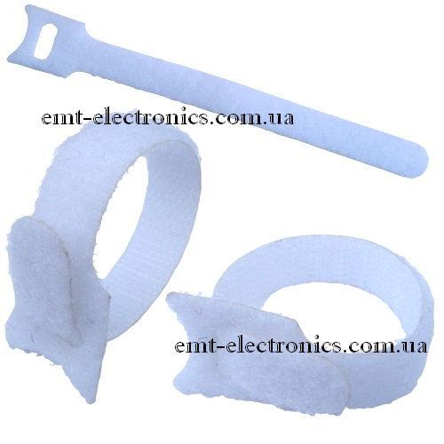 Стяжка нейлоновая на липучке, многоразовая, 150х12 мм, белая (1 шт.)