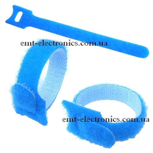 Стяжка нейлоновая на липучке, многоразовая, 210х16 мм, синяя (1 шт.)