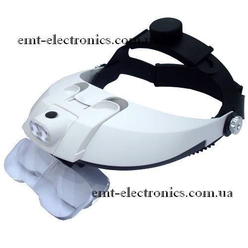 Лупа бинокулярная, налобная, с LED подсветкой 1,0х-3,5х увеличение
