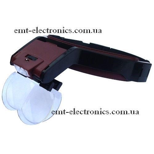 Лупа бинокулярная, налобная, с подсветкой, 1,7х-4,5х увеличение