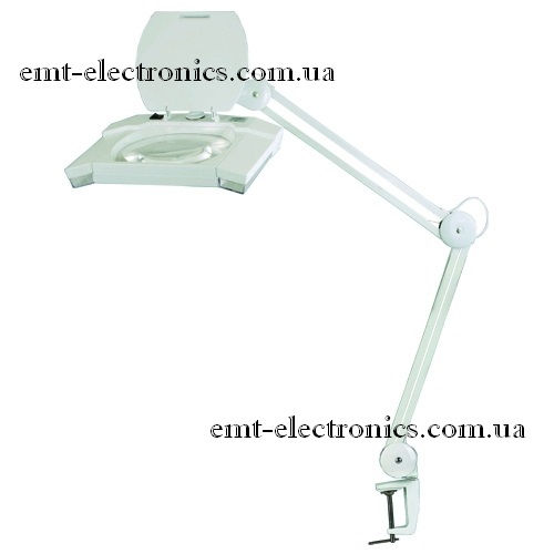 Лупа-лампа с LED подсветкой 7 Вт, на струбцине, 5-и кратное увеличение