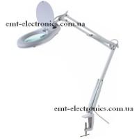 Лупа-лампа с LED подсветкой 7Вт, на струбцине, 5-и кратное увеличение