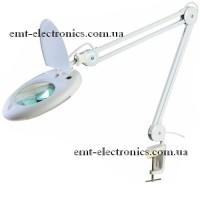 Лупа-лампа с LED подсветкой, на струбцине, х5 увеличение