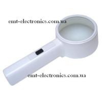 Лупа ручная, круглая, с LED подсветкой, 4-х кратное увеличение